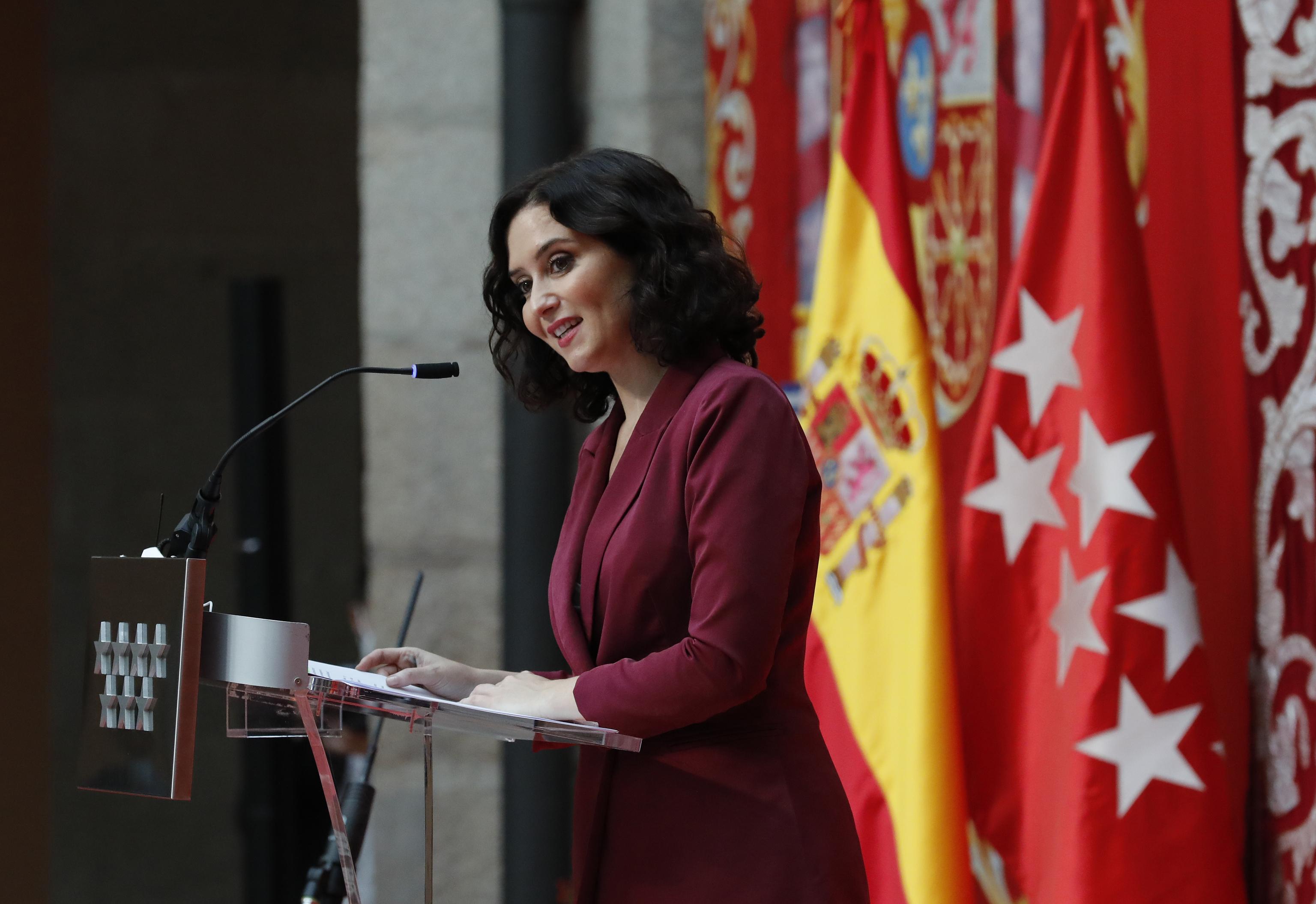 Isabel Díaz Ayuso, este lunes en la toma de posesión de su Gobierno.