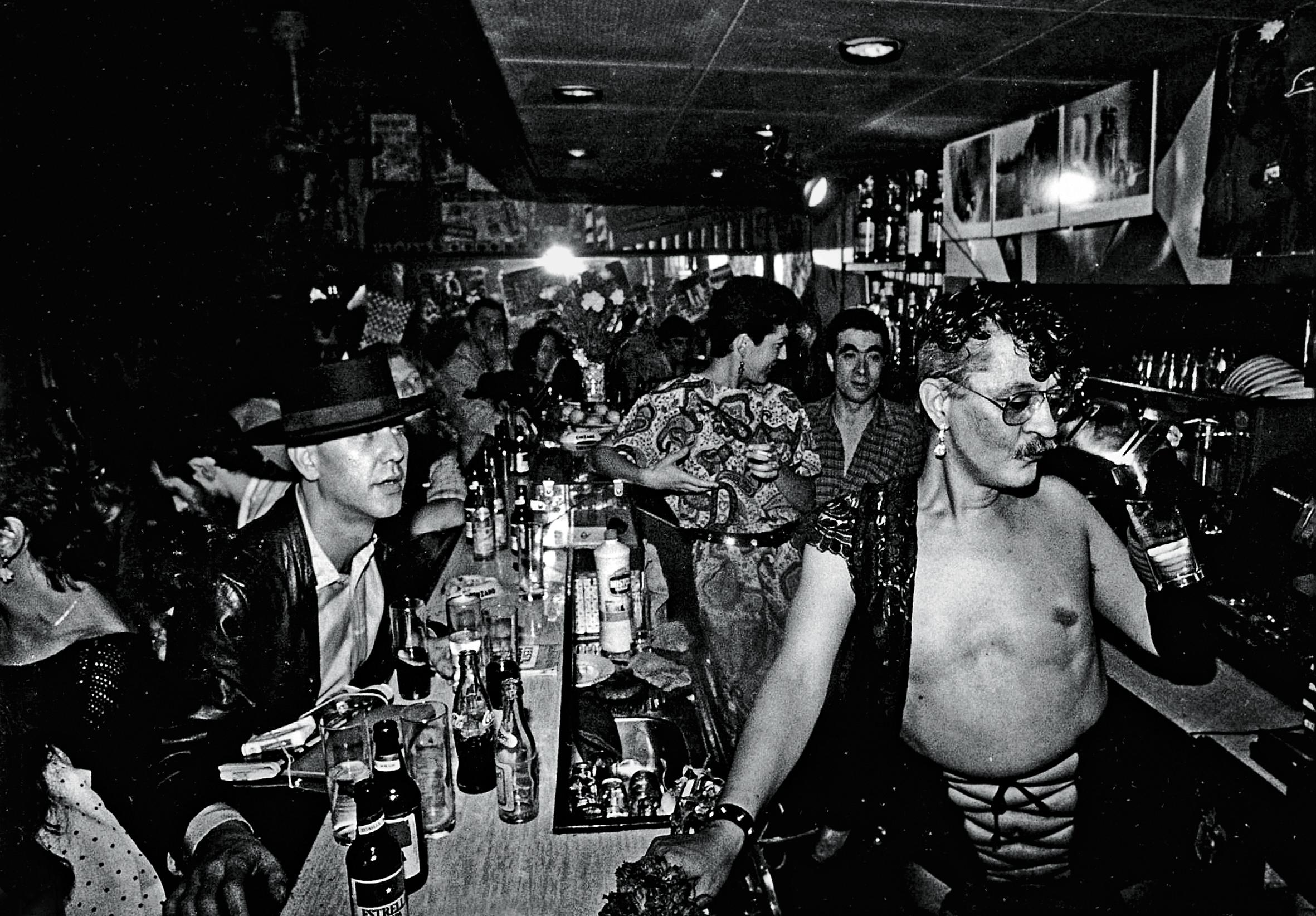 Nazario, en el bar Kike, en los 80.