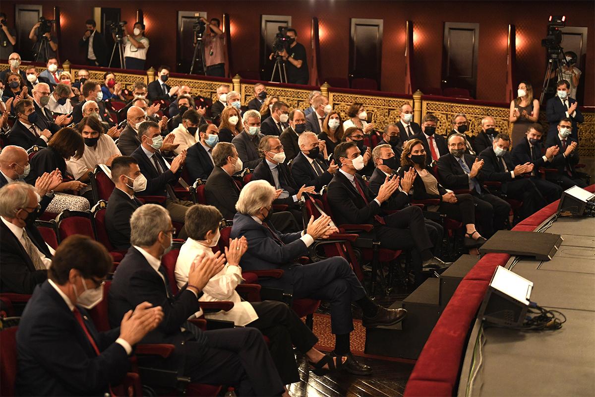 Pedro Sánchez, este lunes en el Gran Teatre del Liceu.
