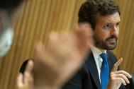 Pablo Casado, el lunes en el Congreso.