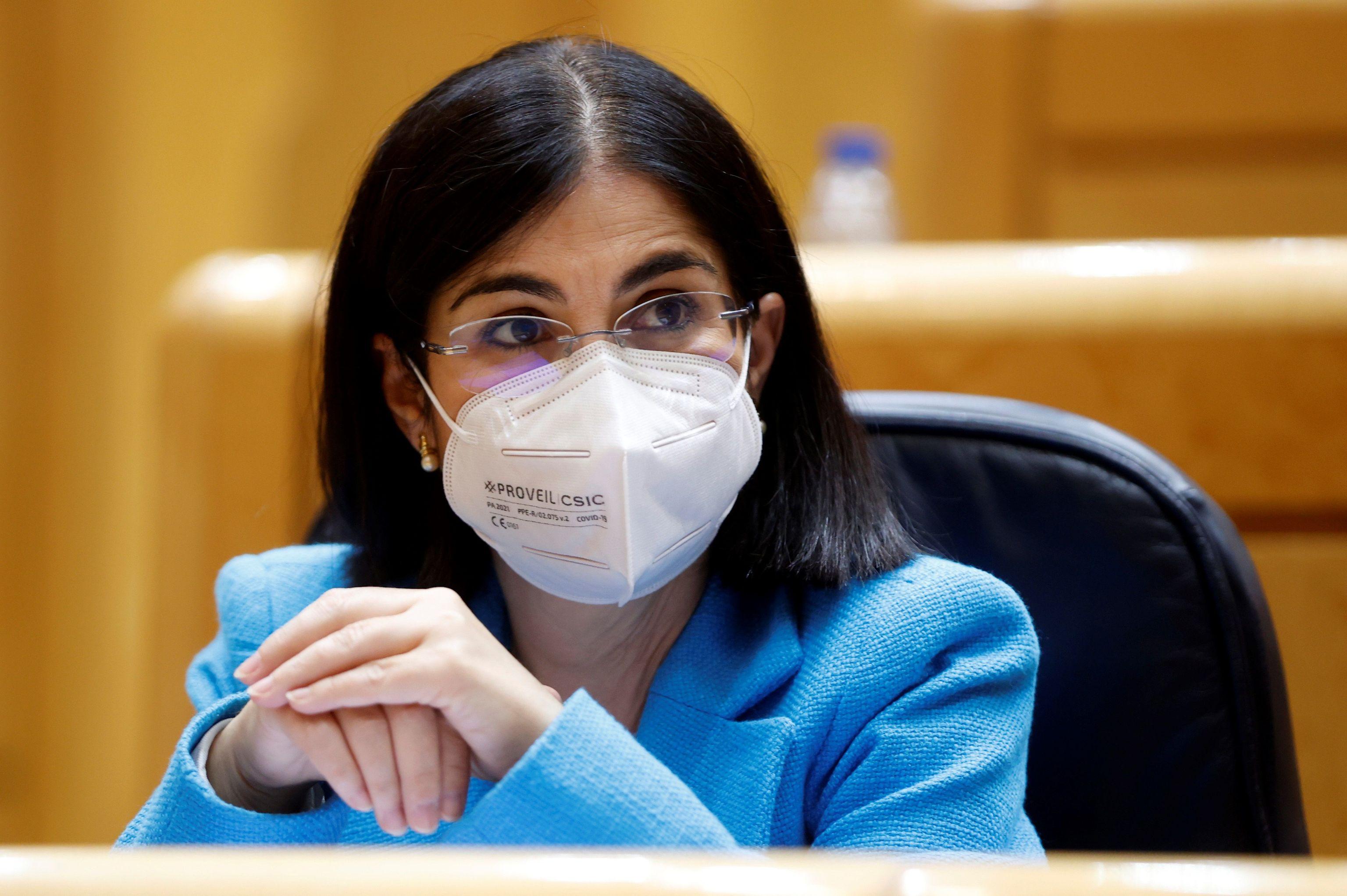 La ministra de Sanidad, Carolina Darias, durante la sesión de control al Gobierno celebrada este martes en el Senado.