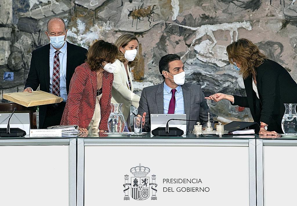 Pedro Sánchez, en el Consejo de Ministros que aprobó los indultos.