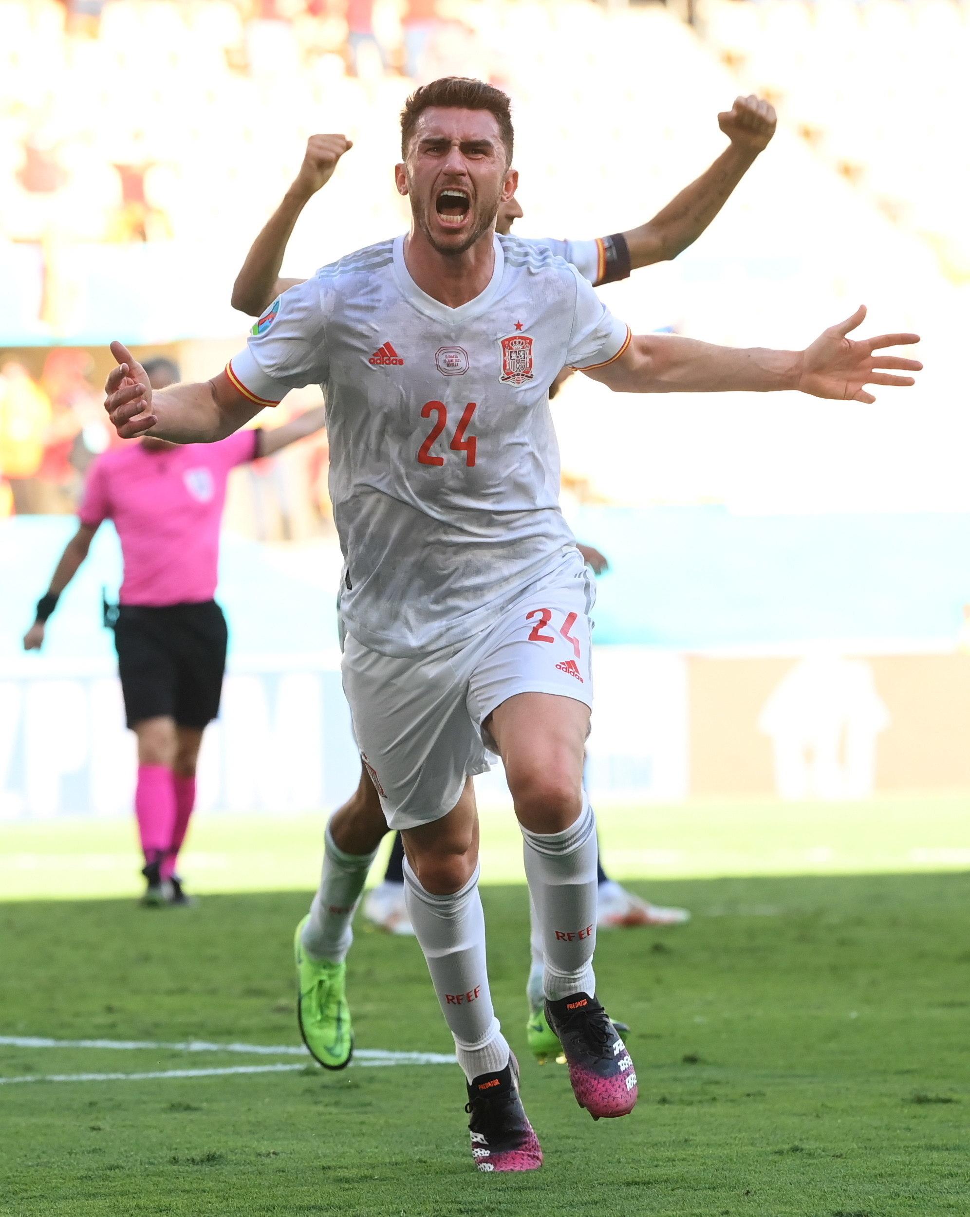 Laporte celebra el segundo gol de Espa