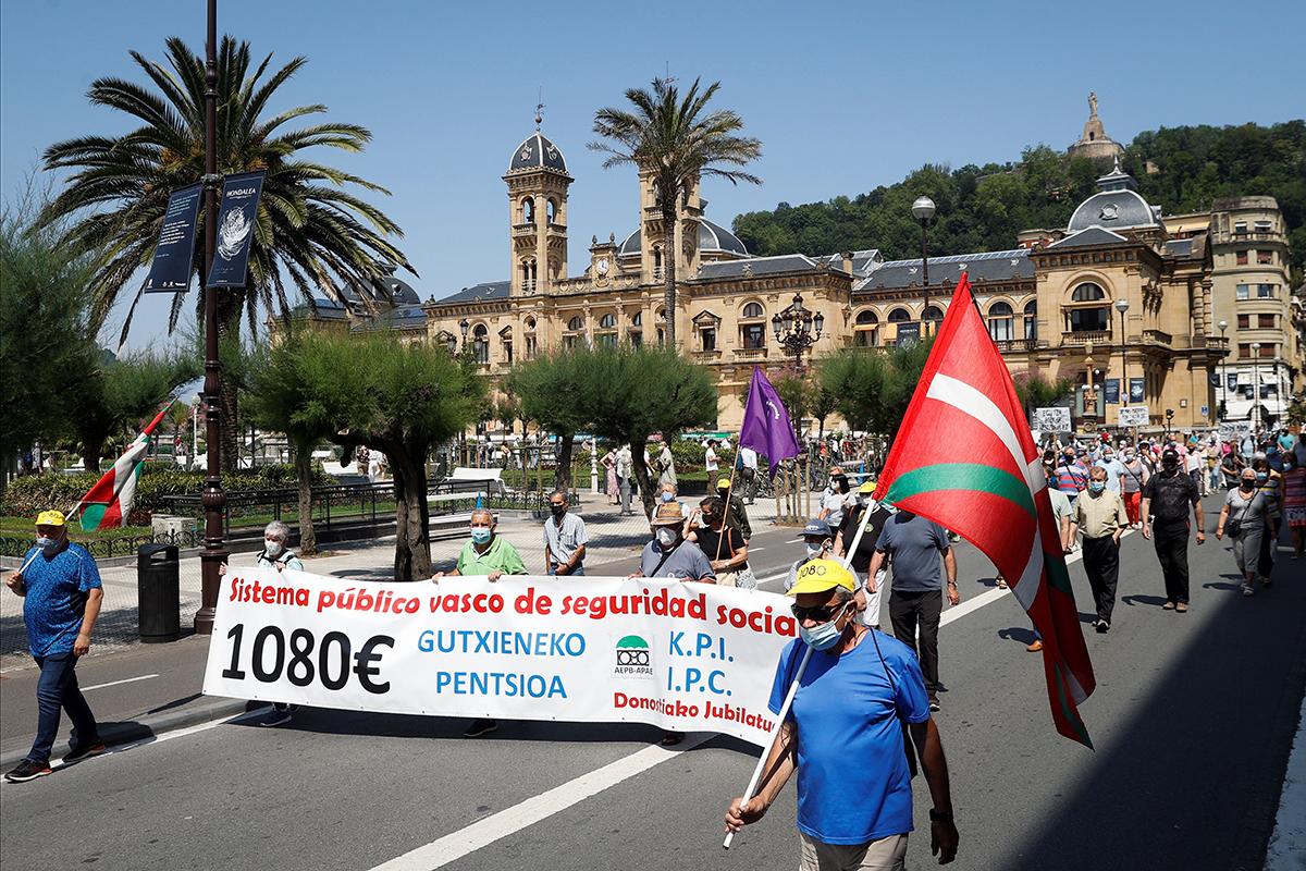Manifestación de pensionistas celebrada la pasada semana en San Sebastián.