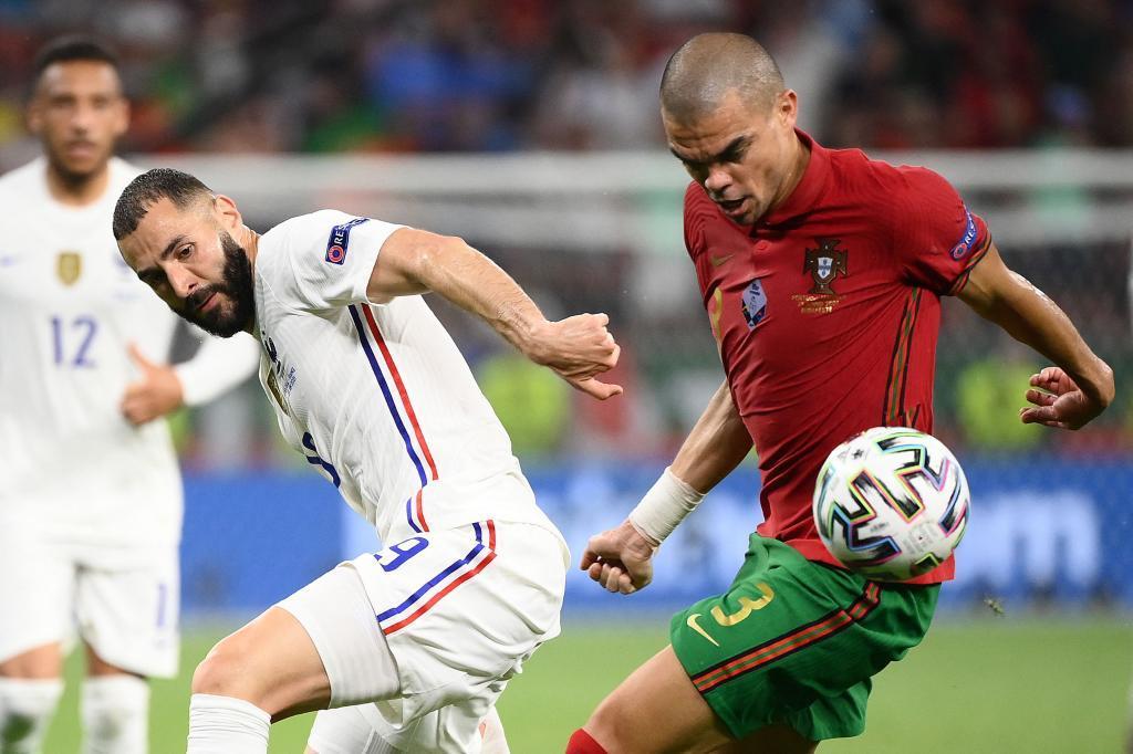 Benzema y Pepe en la Eurocopa.