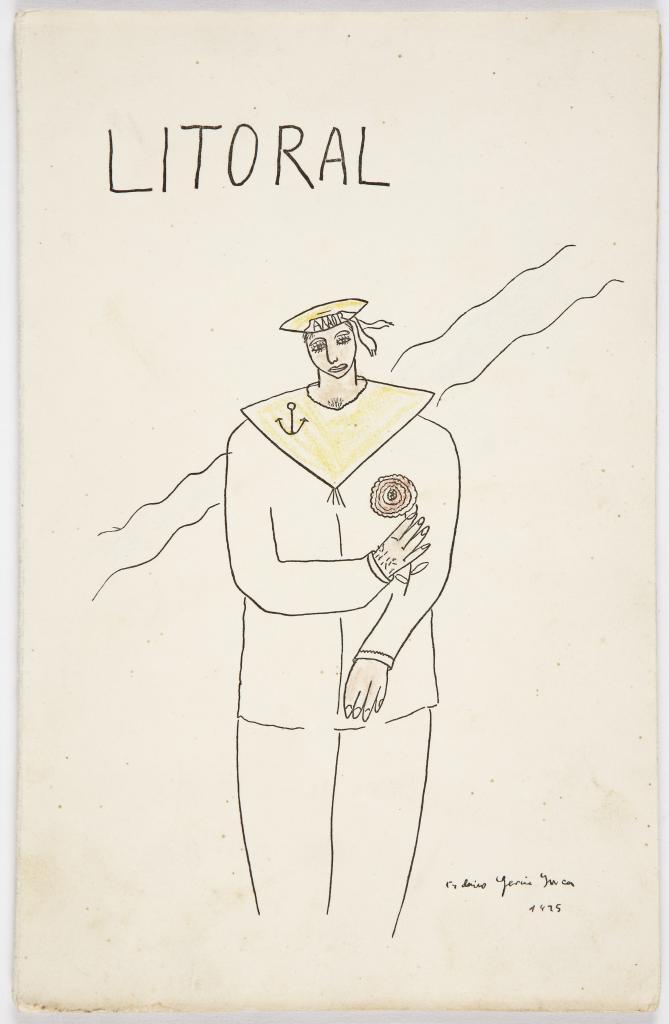 Dibujo de Lorca en la portada de 'Litoral', en 1927.