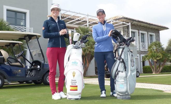 Las jugadoras de golf Noemí Jiménez y Laura Gómez.