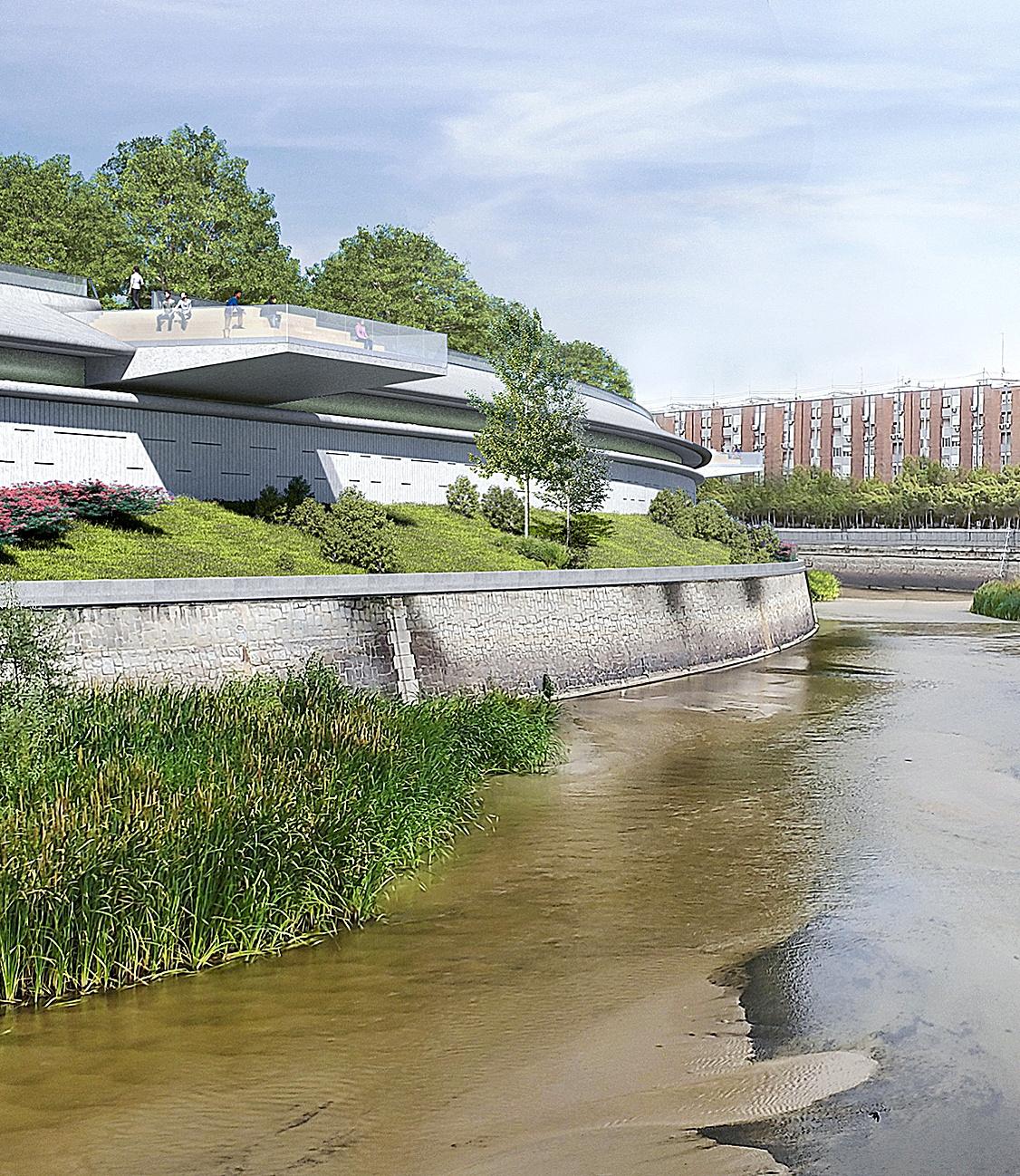 Imagen virtual con un gran mirador sobre el Manzanares que se construirá en el nuevo parque sobre la M-30