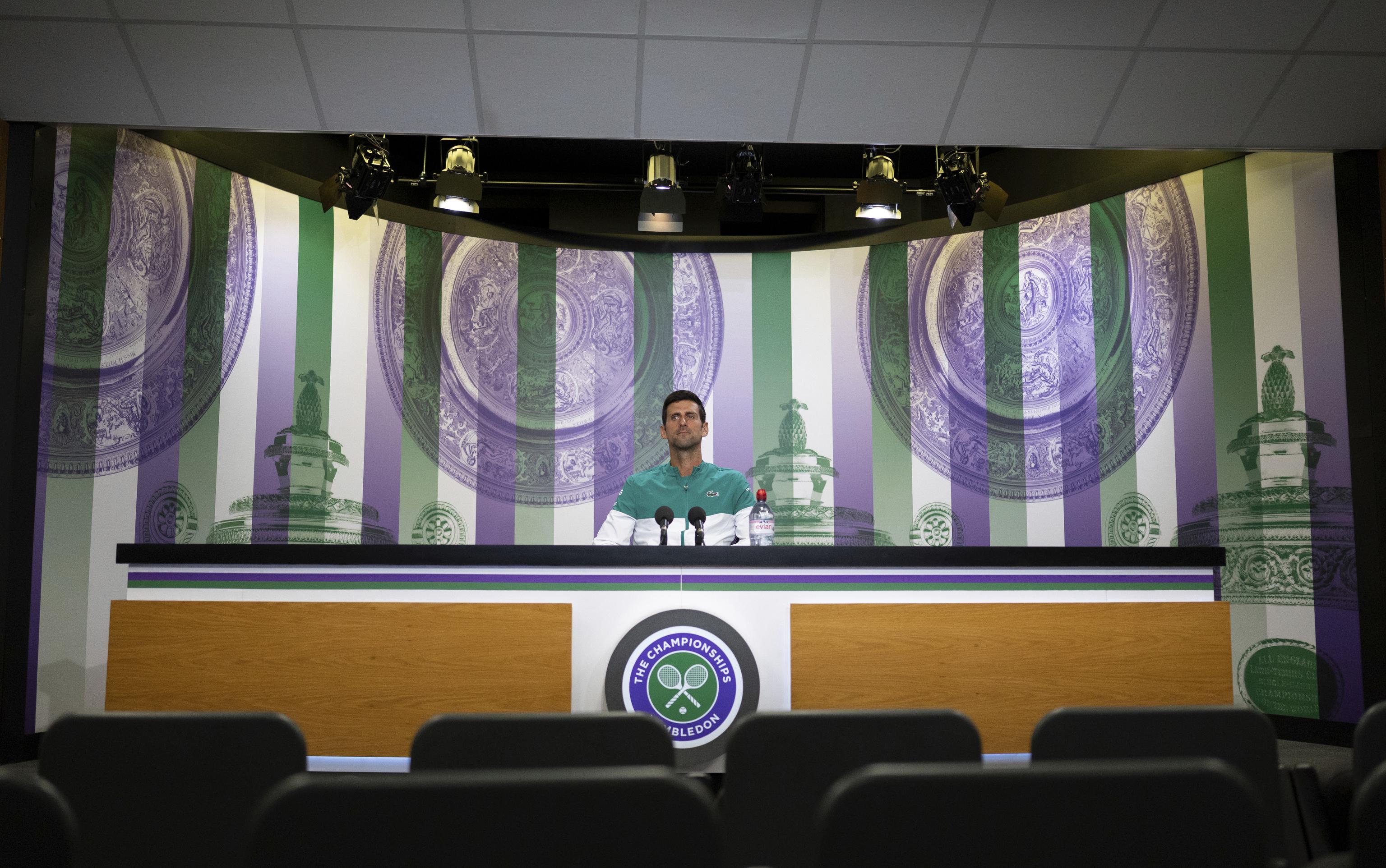 Djokovic, en la sala de prensa de Wimbledon.