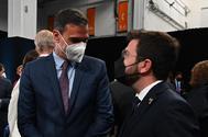 Pedro Sánchez y Pere Aragonès, el domingo en Barcelona, en la cena de inauguración del Mobile World Congress.