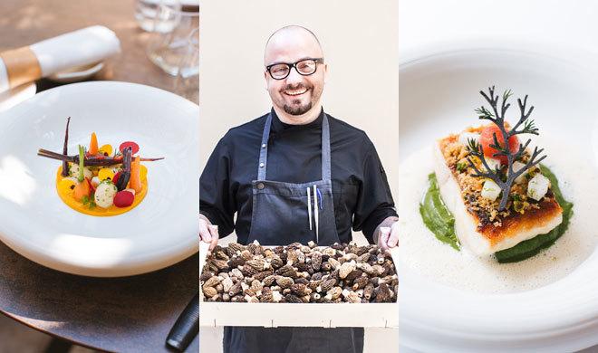 El chef Simon Petuschnig entre dos de sus platos.