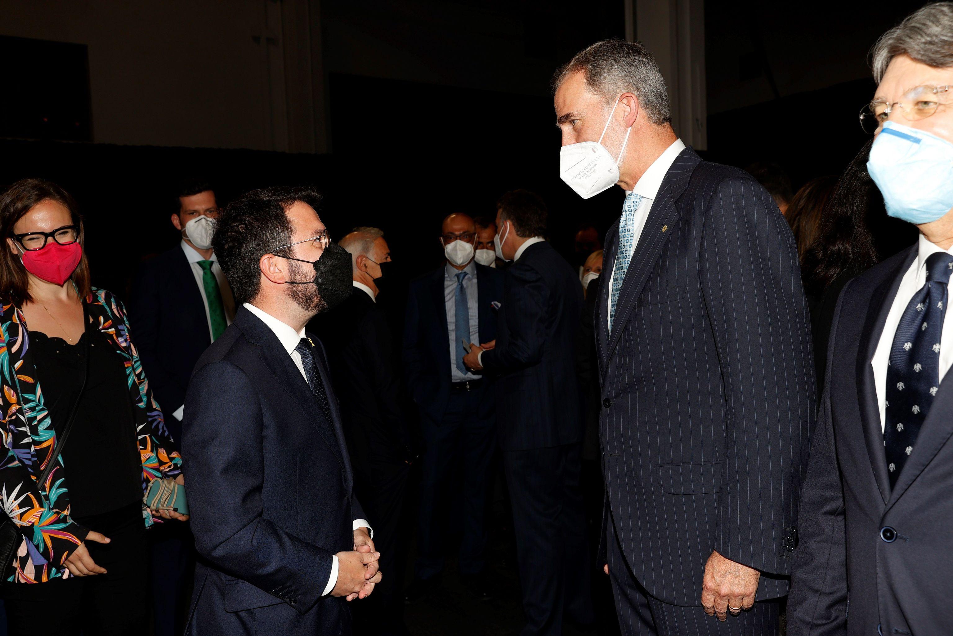 Pedro Sánchez y Pere Aragonès, en la cena inaugural del Mobile World Congress.