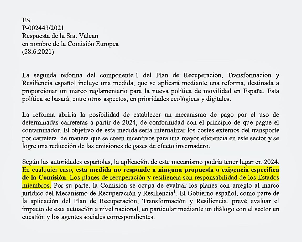 Respuesta escrita de la comisaria europea de Transporte, Alina Valean, al eurodiputado de Ciudadanos, José Ramón Bauzá.