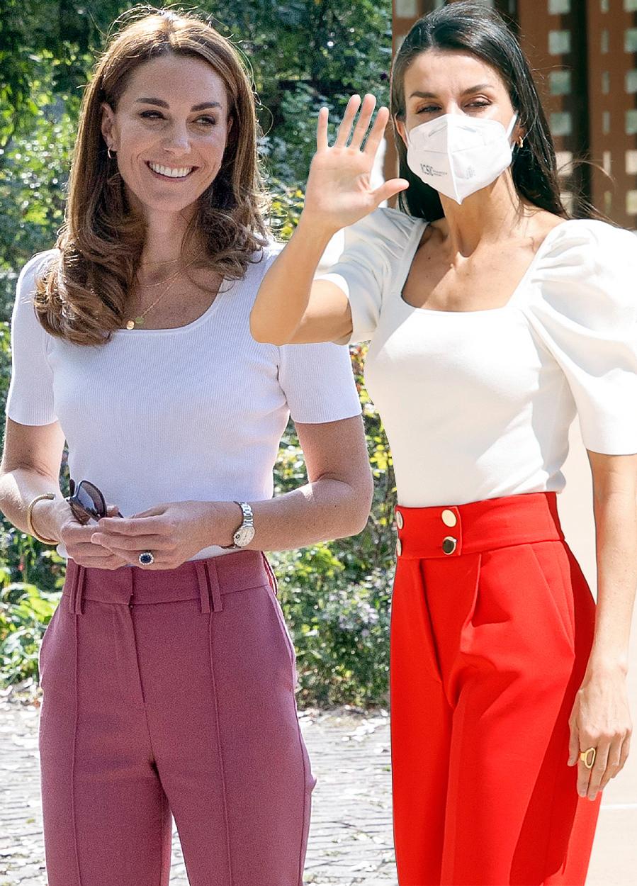 Los looks más parecidos de la Reina Letizia y Kate Middleton - Cuerpo blanco con mangas farol