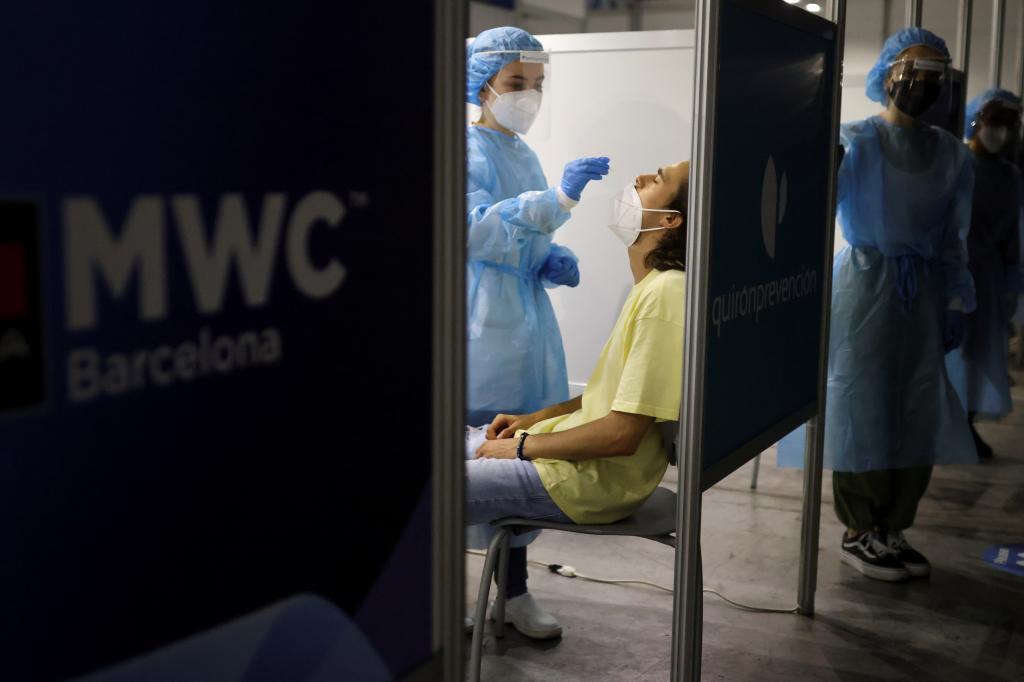 Pruebas de coronavirus en el Mobile World Congress de Barcelona