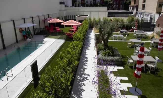 Zona de la piscina, la terraza y el jardín.