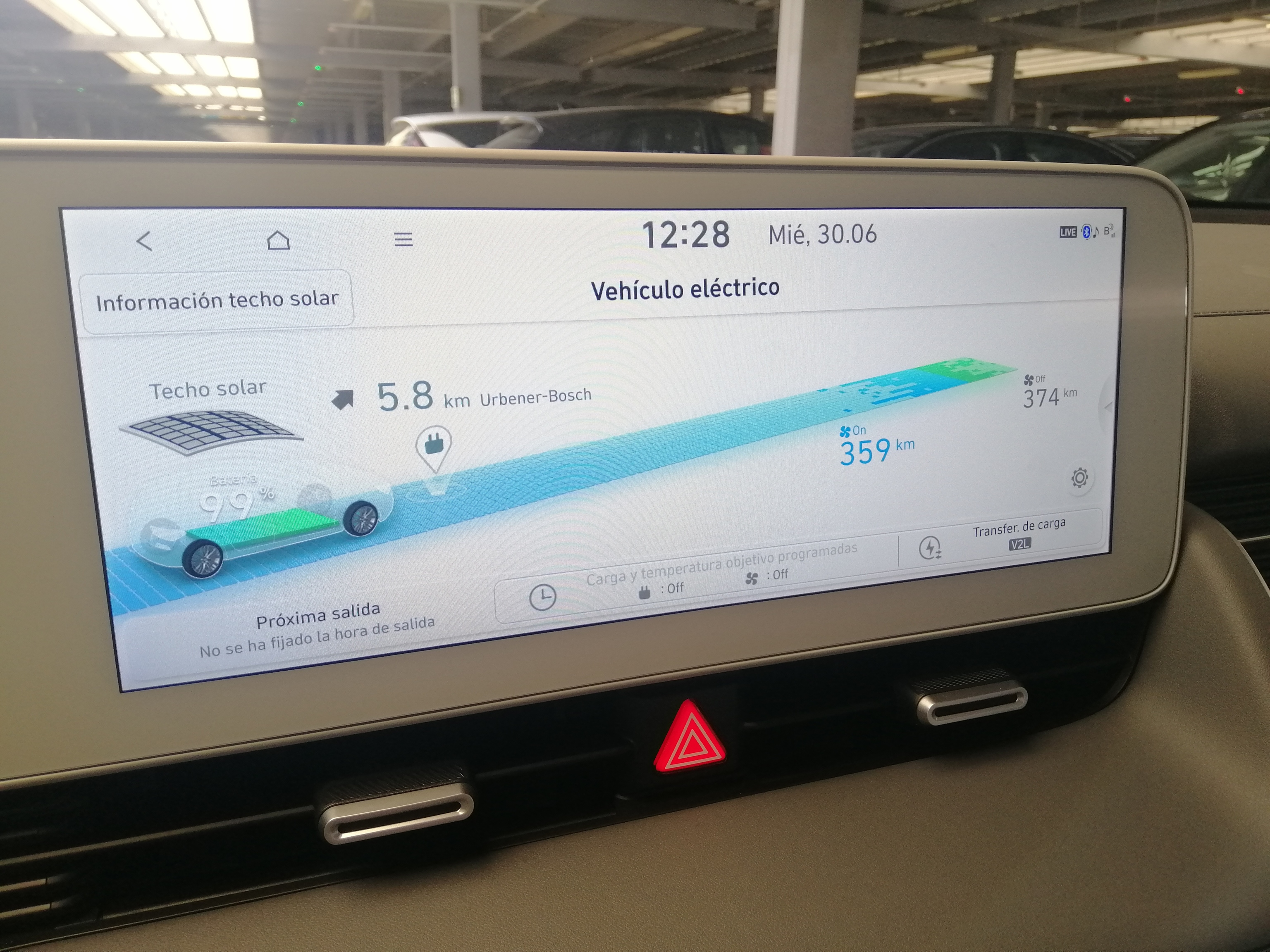 Rango de autonomía en la pantalla central del Hyundai Ioniq 5