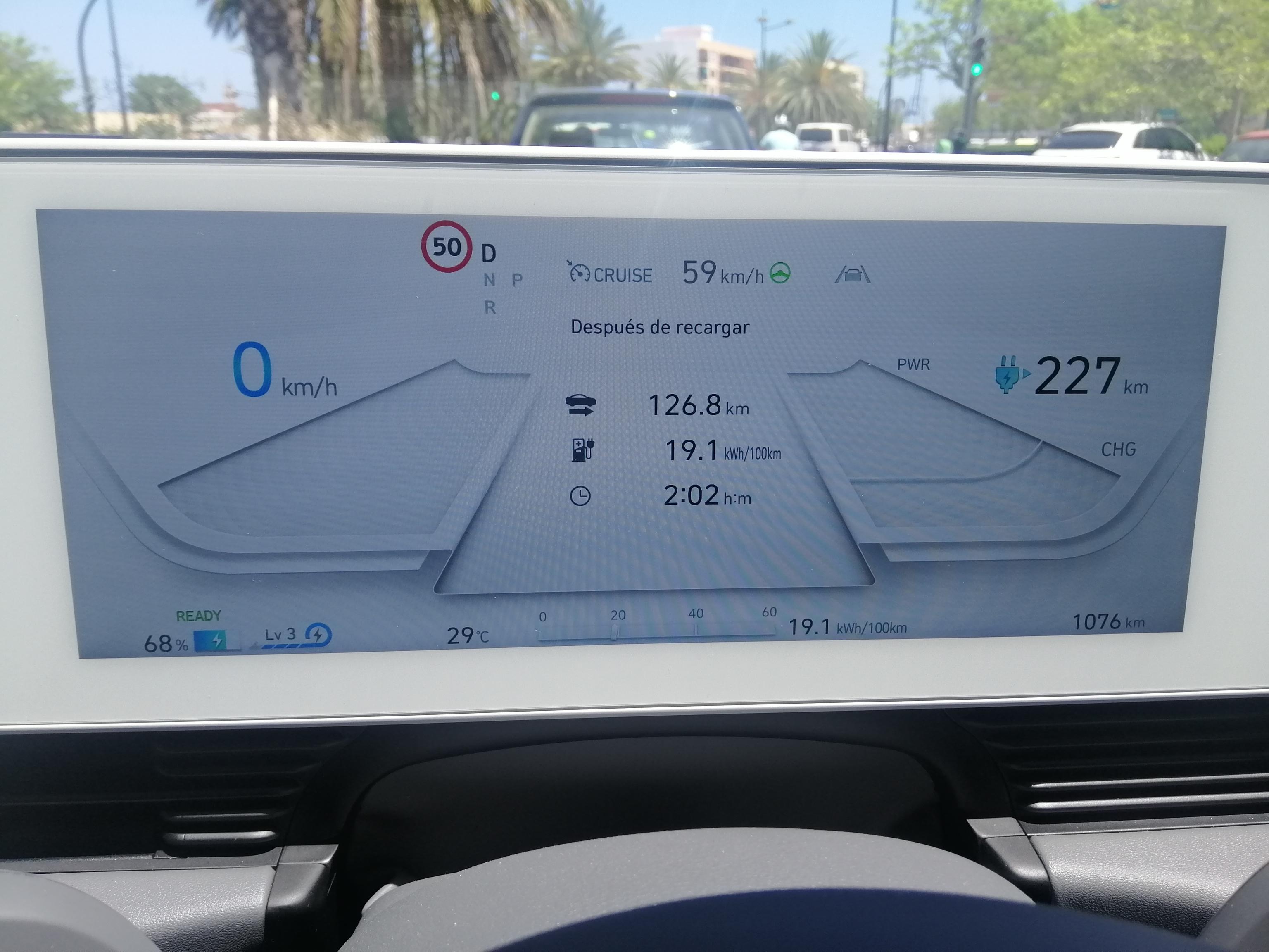 Pantalla de instrumentación de 12,3 pulgadas del Hyundai Ioniq 5, consumo kwh