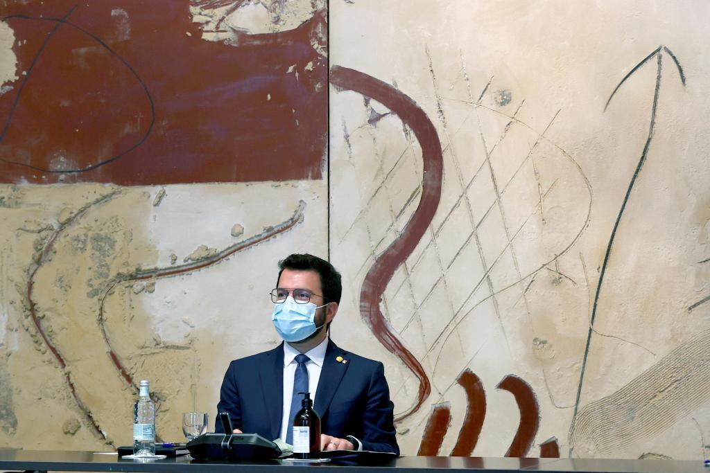 Pere Aragonès, durante la reunión semanal del Consell Executiu.