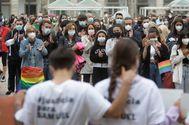Concentración por el asesinato de Samuel, en La Coruña.