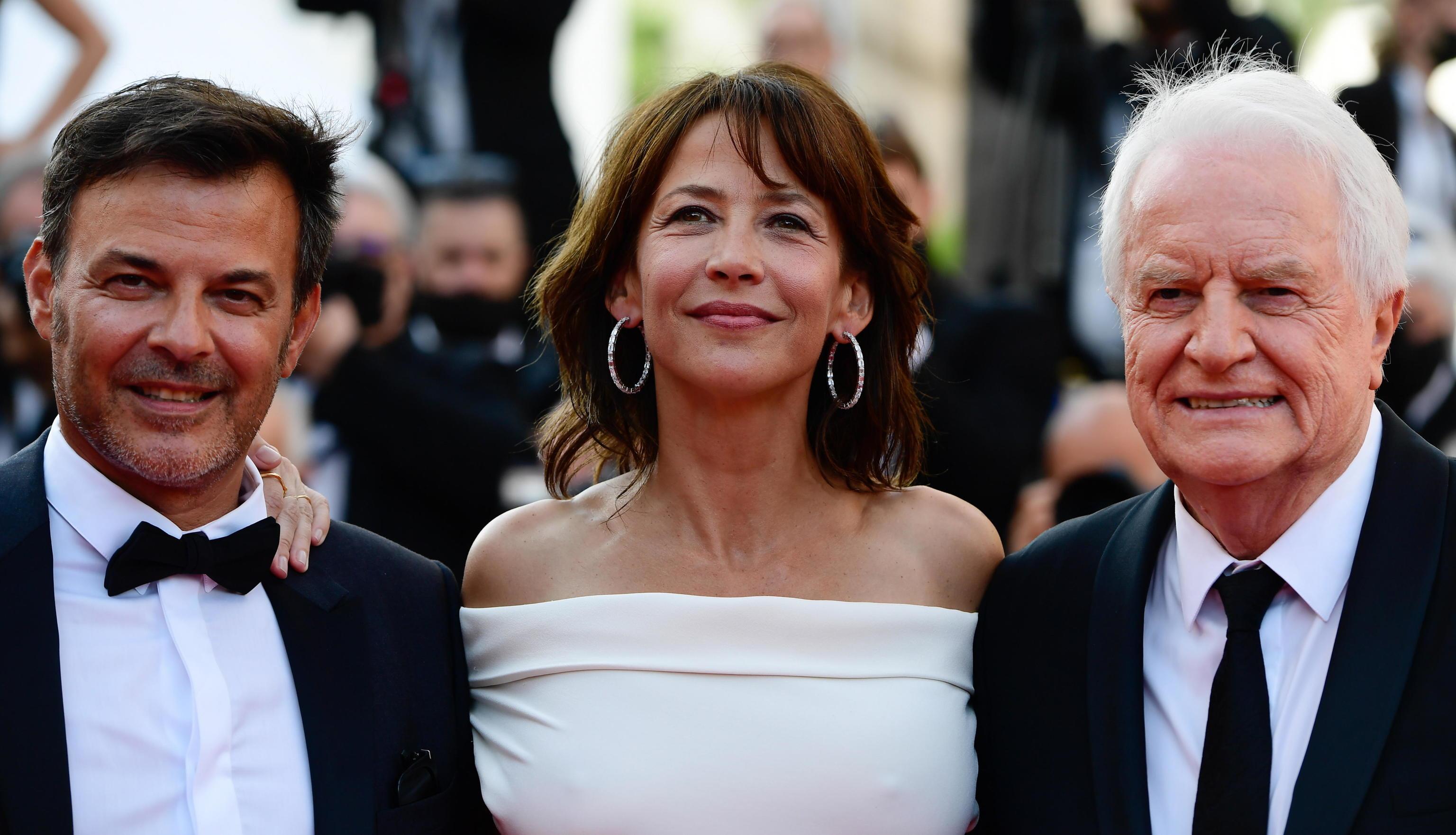 Francçois Ozon, Sophie Marceau y Andre Dussollier en la presentación de 'Tout s'est bien passe'.