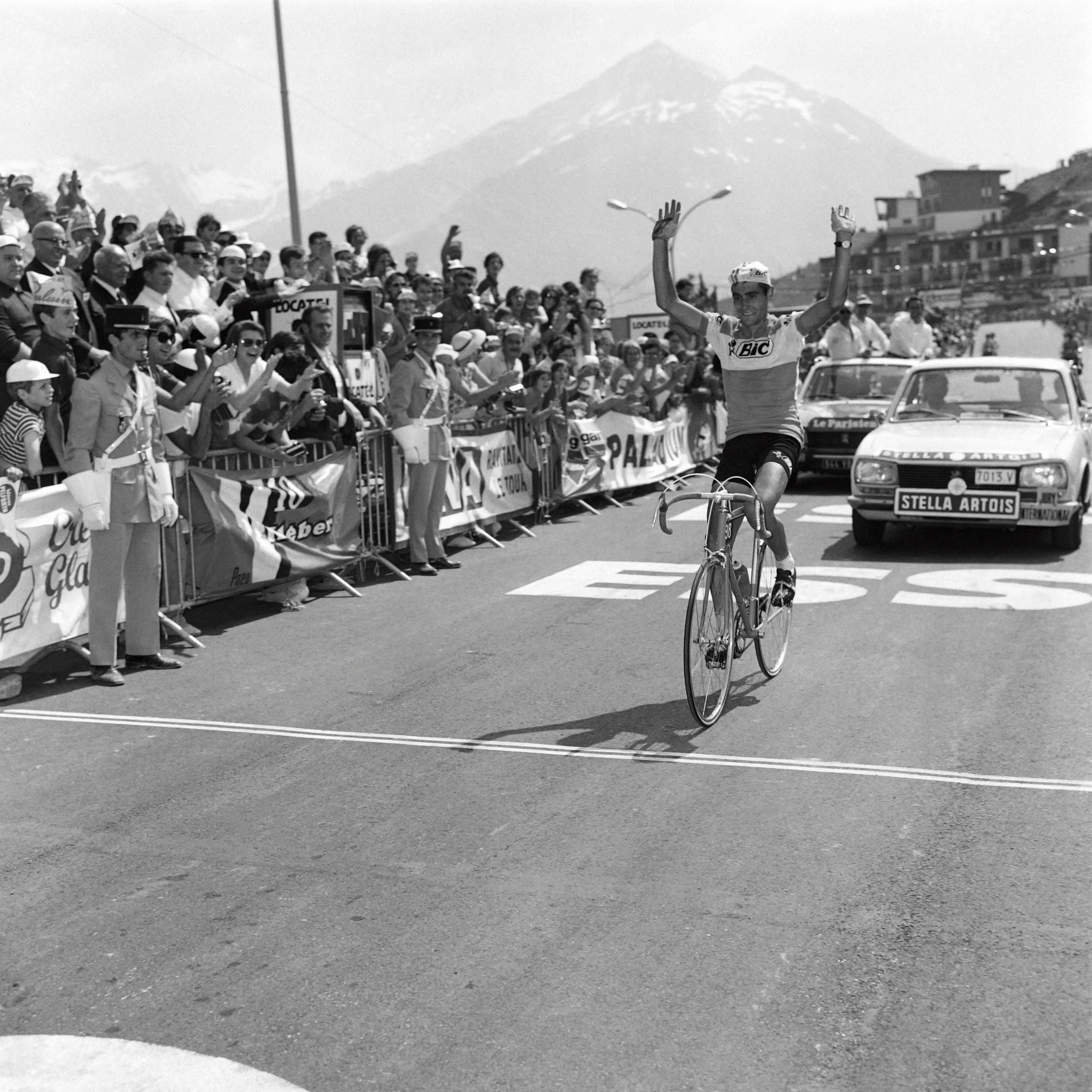 Ocaña, victorioso en Orcières-Merlette, el 8 de julio de 1971.
