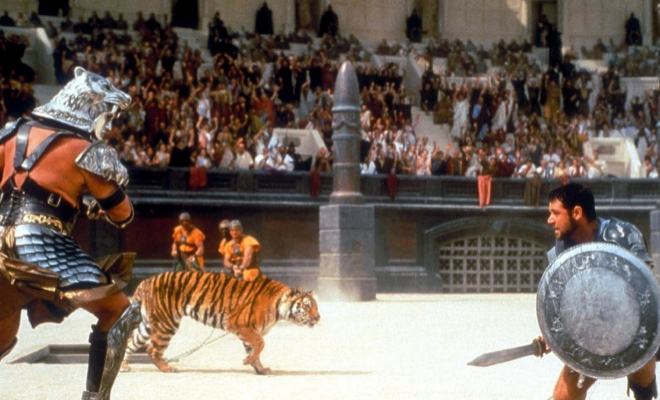 Fotograma de una lucha en la película 'Gladiator'.