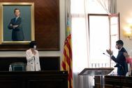 Diana Morant,  nueva ministra de Ciencia e Innovación, se despide de sus compañeros de la Alcaldía de Gandía.
