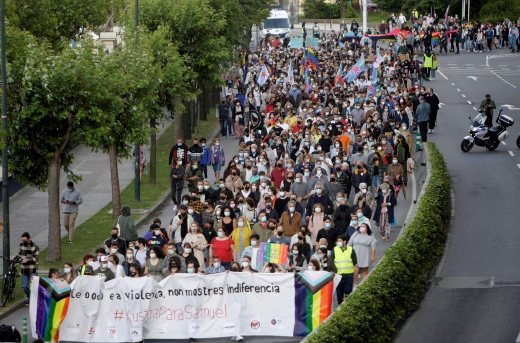 Manifestación que ha recorrido hoy las calles de A Coruña en protesta por el asesinato de Samuel Luiz.