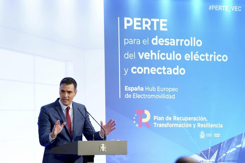 Pedro Sánchez en la presentación del PERTE de automoción, este lunes.