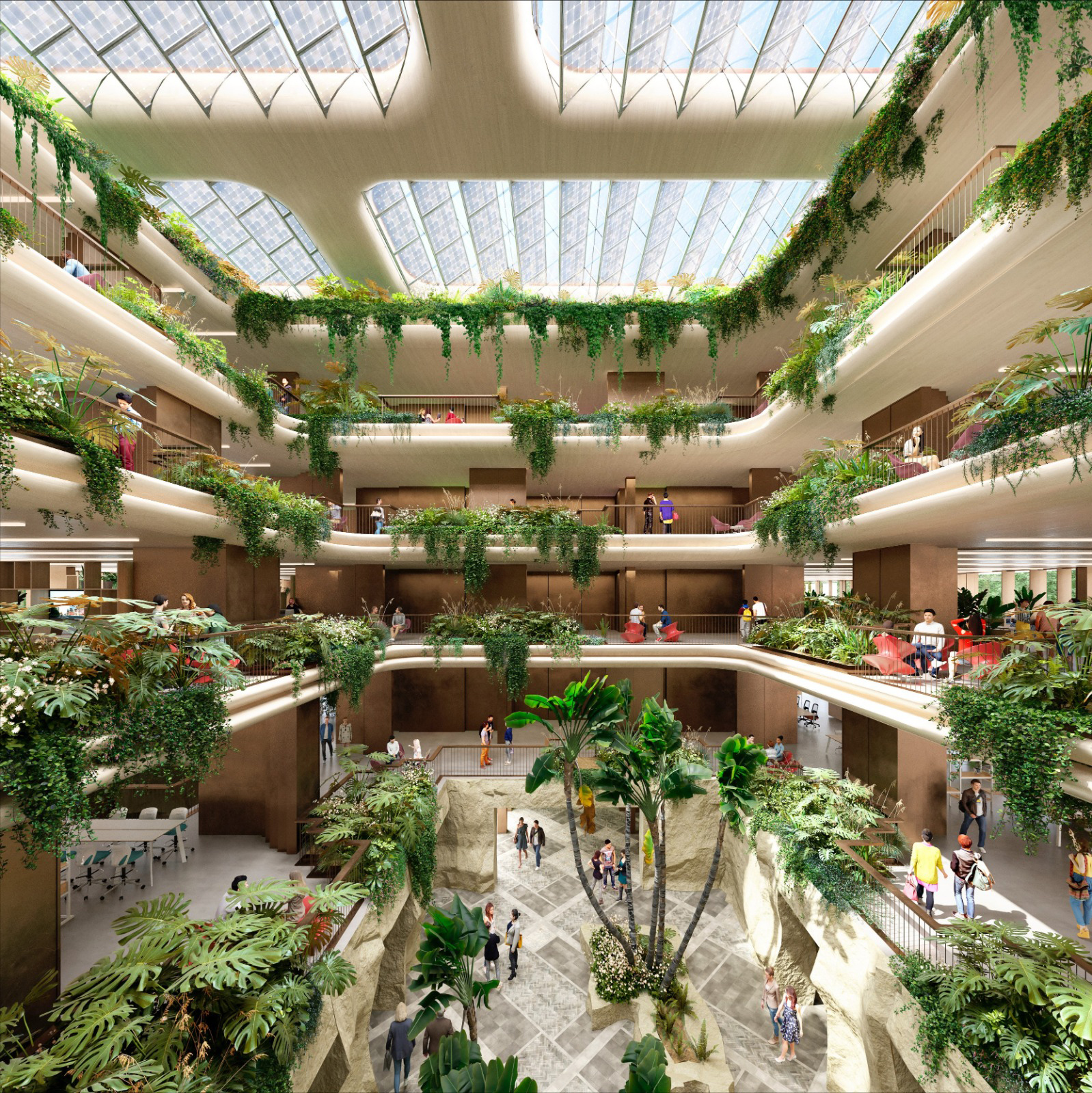 El interior del edificio, rodeado de plantas y árboles.