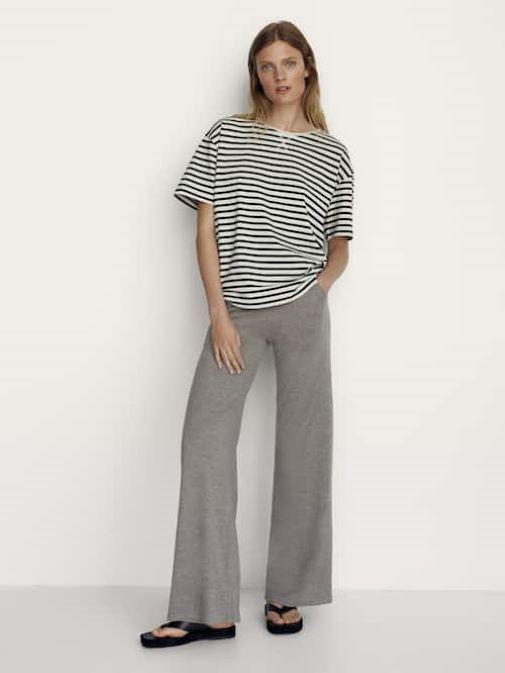 Pantalón ancho de mujer de Massimo Dutti con efecto pierna infinita para parecer más alta