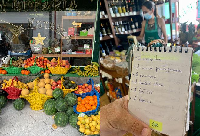 Visita a la frutería con la lista de la compra.
