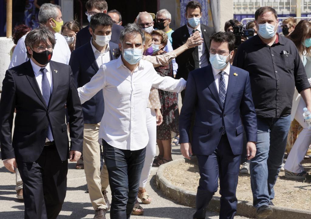 Puigdemont, Cuixart, Aragonès y Junqueras, el vierner en Elna (Francia).