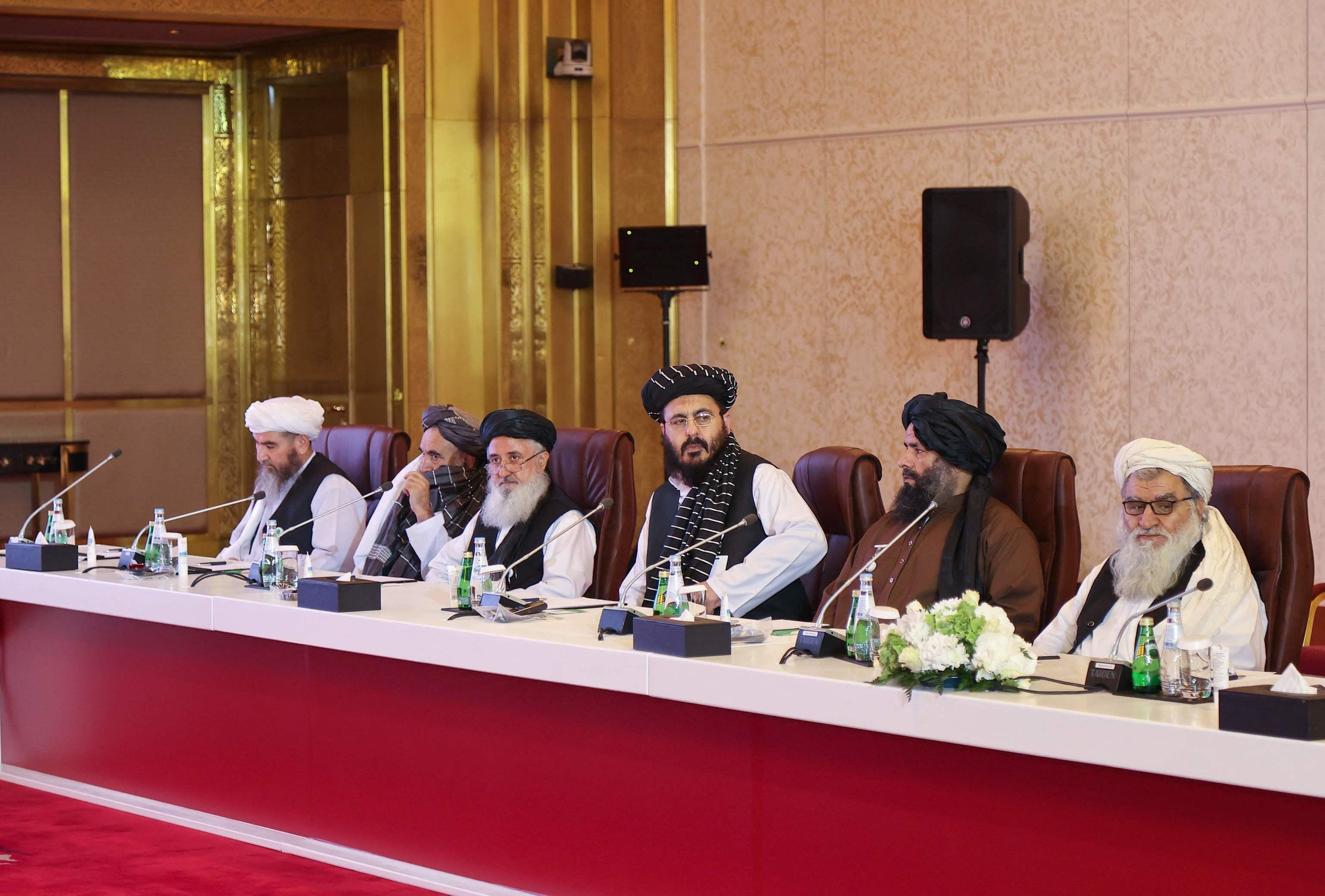 Delegación talibán este sábado en Doha.