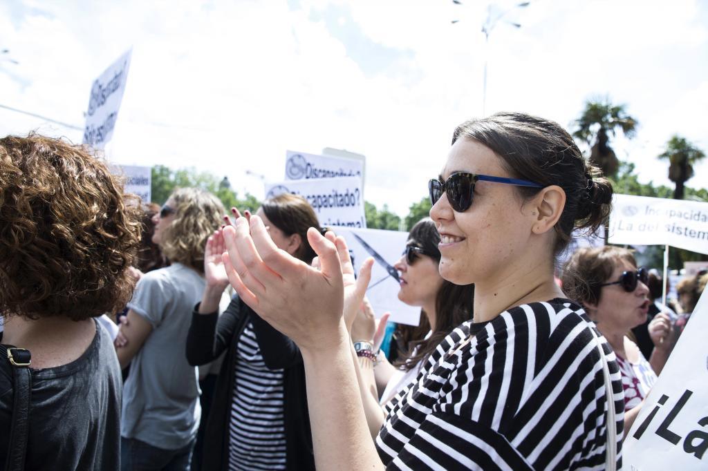 Teresa Arévalo, asesora en Igualdad y denunciada como niñera de Irene Montero, en una manifestación en 2018.