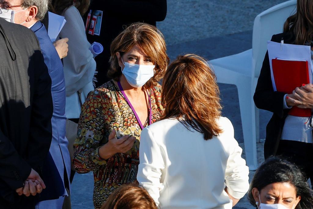 Dolores Delgado, fiscal general del Estado, en el homenajea las víctimas de la pandemia la semana pasada.