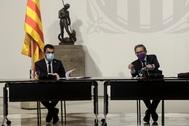El presidente Aragonès y Jaume Giró