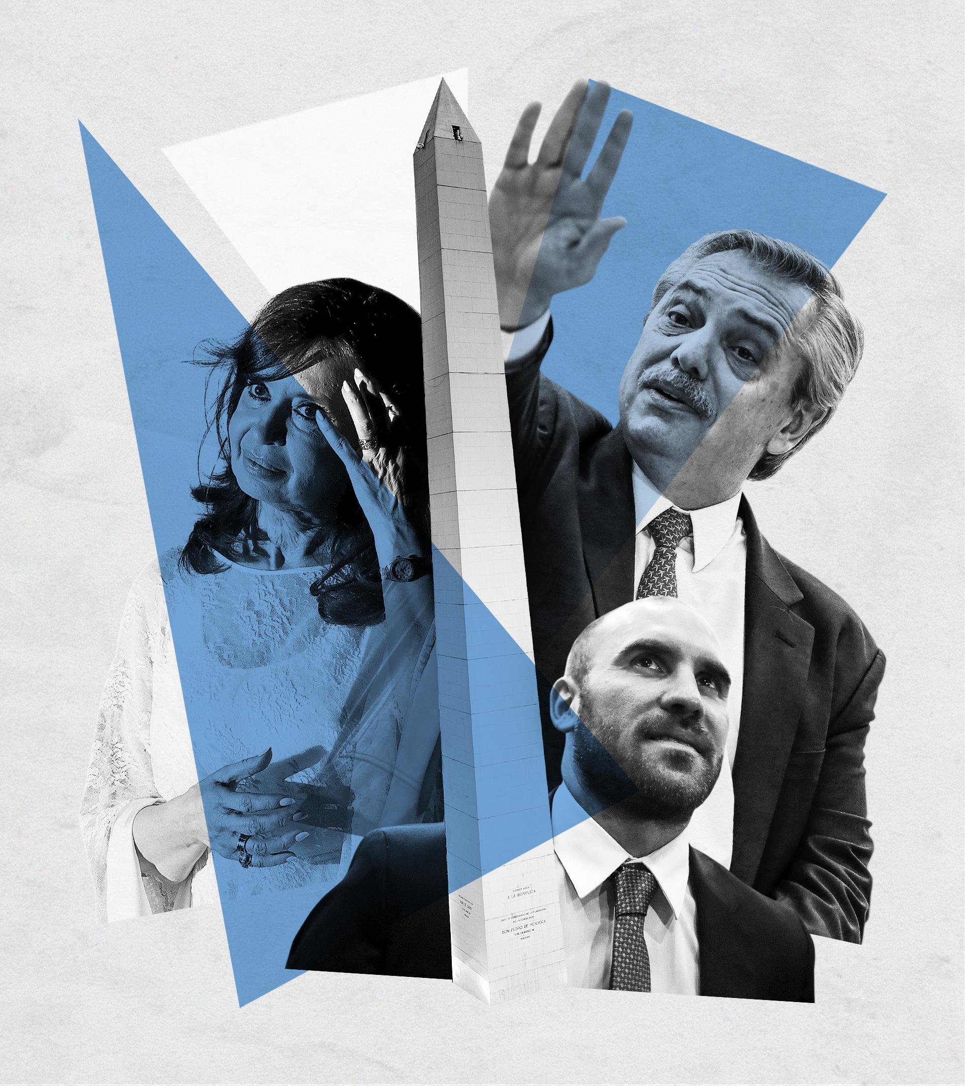 Cristina Fernández de Kirchner (vicepresidenta), Alberto Fernández (presidente) y Martín Guzmán (ministro de Economía)