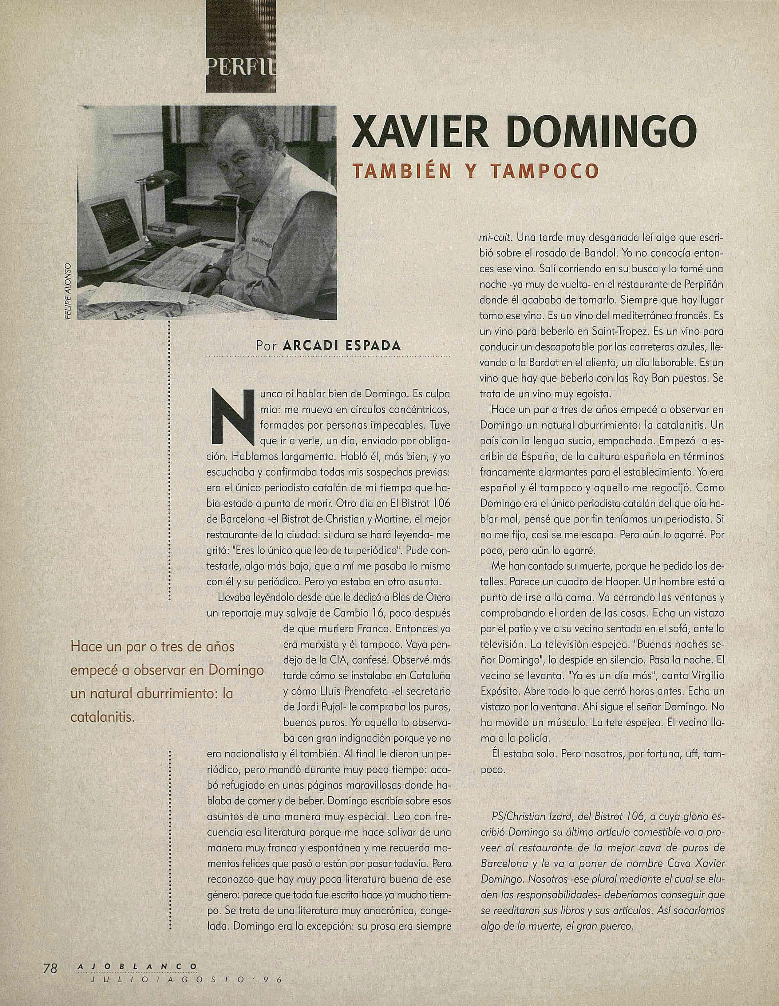 Xavier Domingo murió hace 25 años