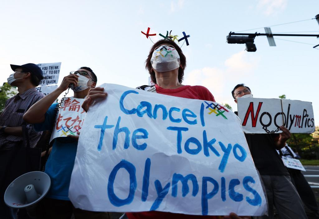 Una manifestación en Tokio contra los JJOO.