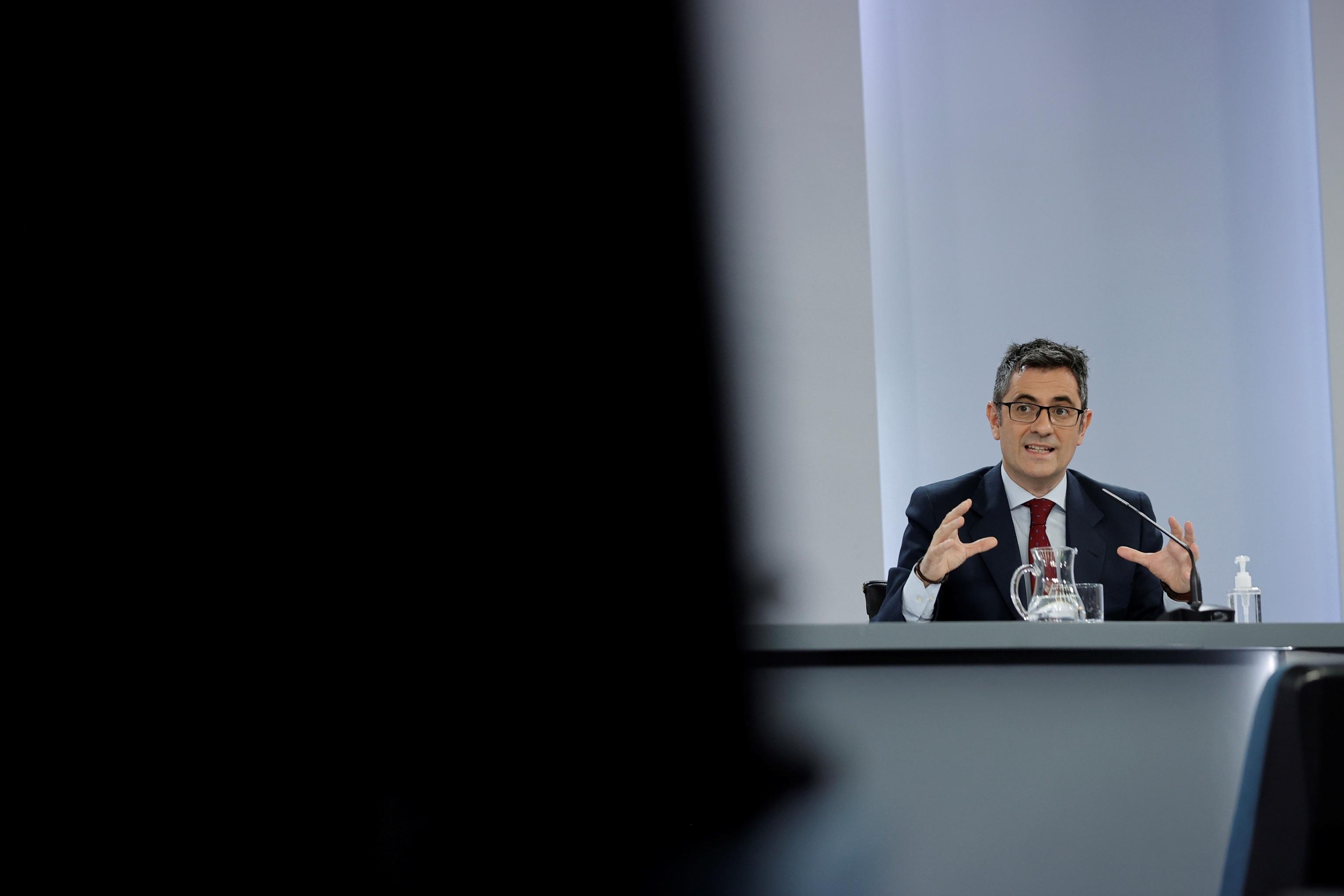 El ministro de la Presidencia, Relaciones con las Cortes y Memoria Democrática,  Félix Bolaños.