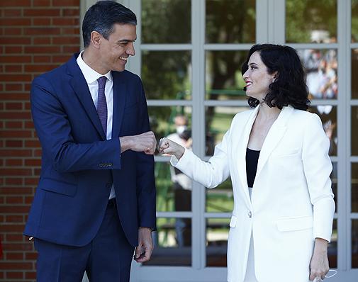 Pedro Sánchez e Isabel Díaz Ayuso en su encuentro en la Moncloa el pasado 9 de julio.