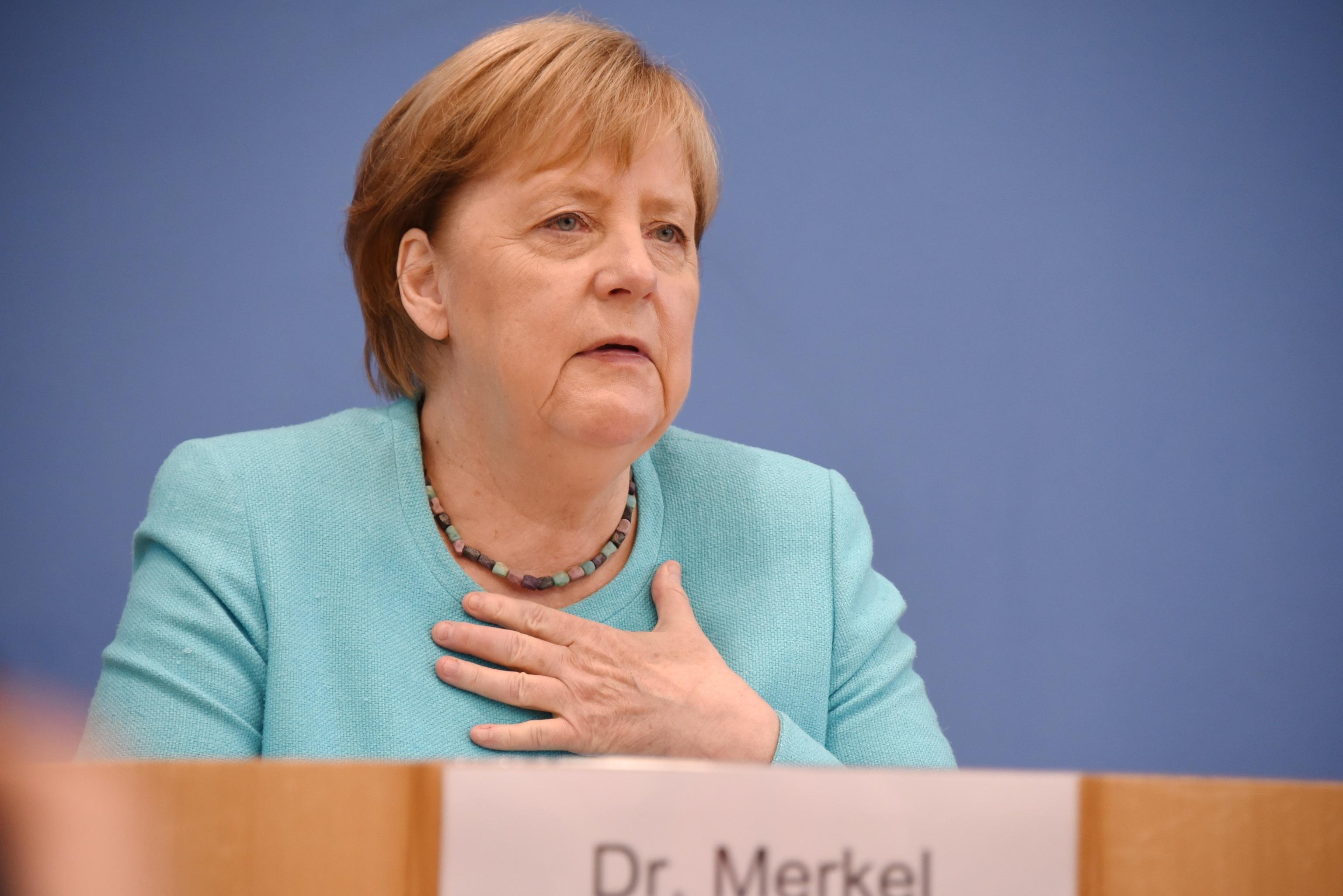 Angela  Merkel, en su última rueda de prensa de verano.
