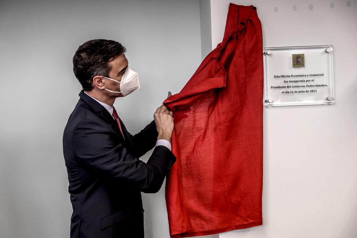 Pedro Sánchez inaugura una oficina comercial en Nueva York durante su viaje a EEUU.
