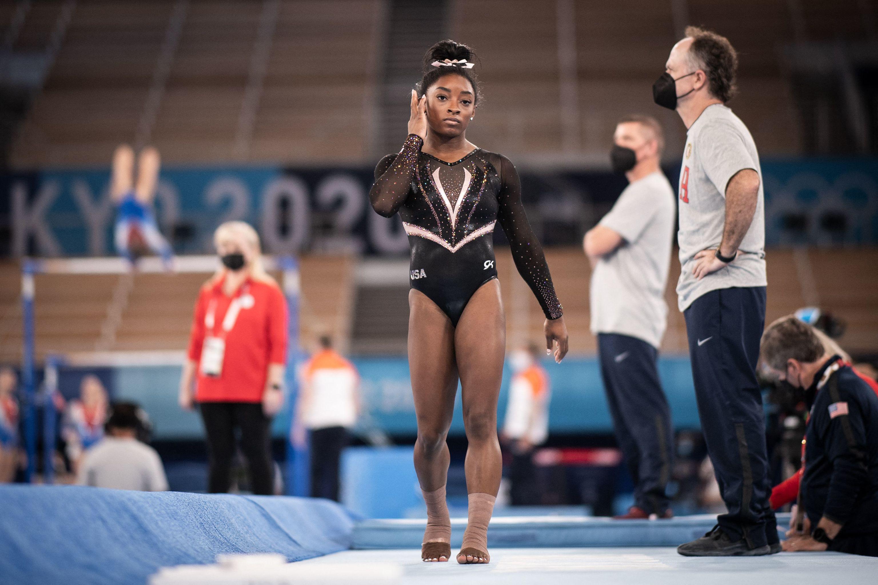 Biles, durante un entrenamiento en el Ariake Gymnastics Centre.
