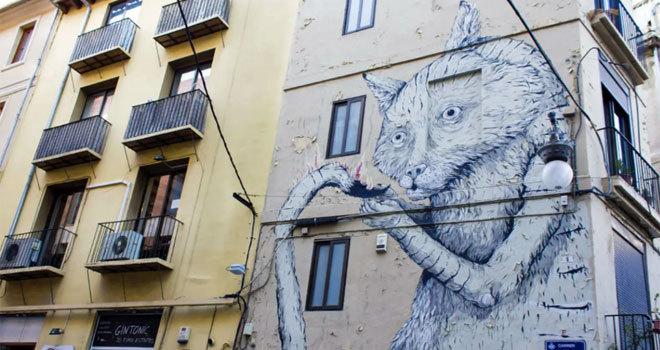 Uno de los grafitis del barrio de El Carmen de Valencia.
