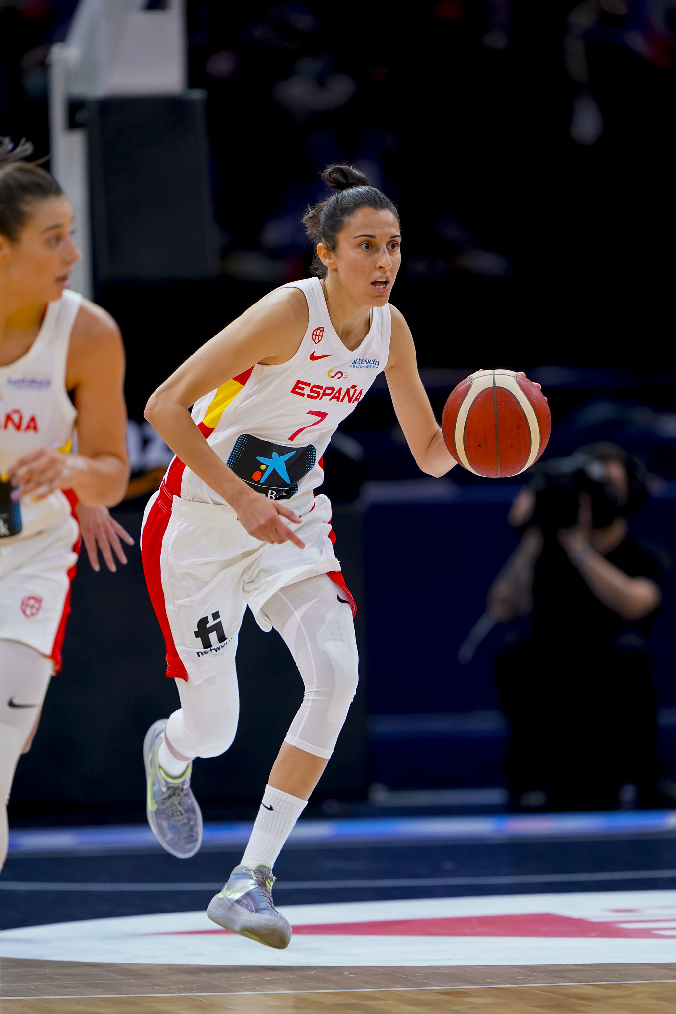 Alba Torrens, durante un partido de preparación.