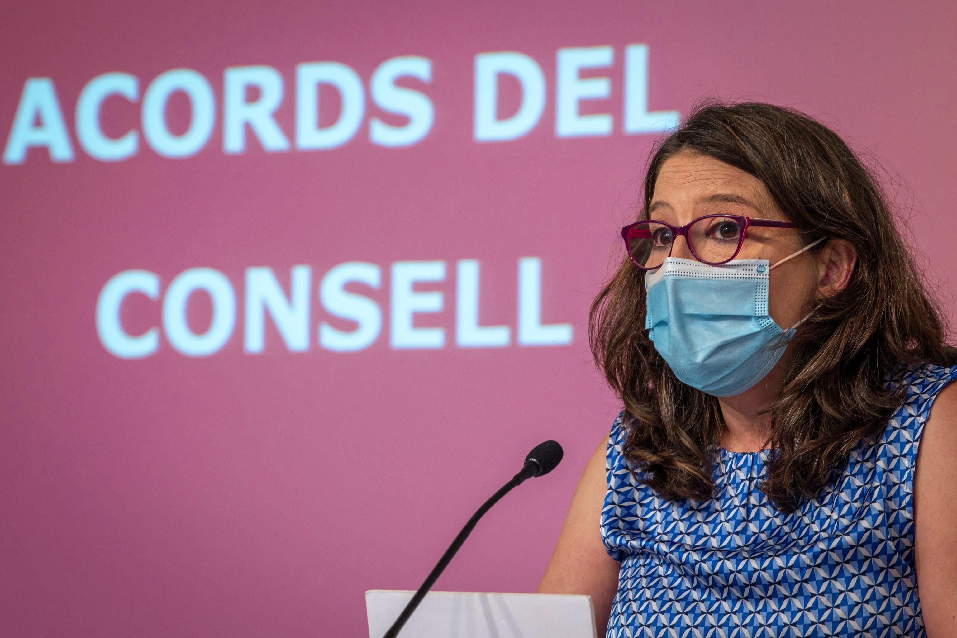 Mónica Oltra, durante una rueda de prensa del pleno del Consell.