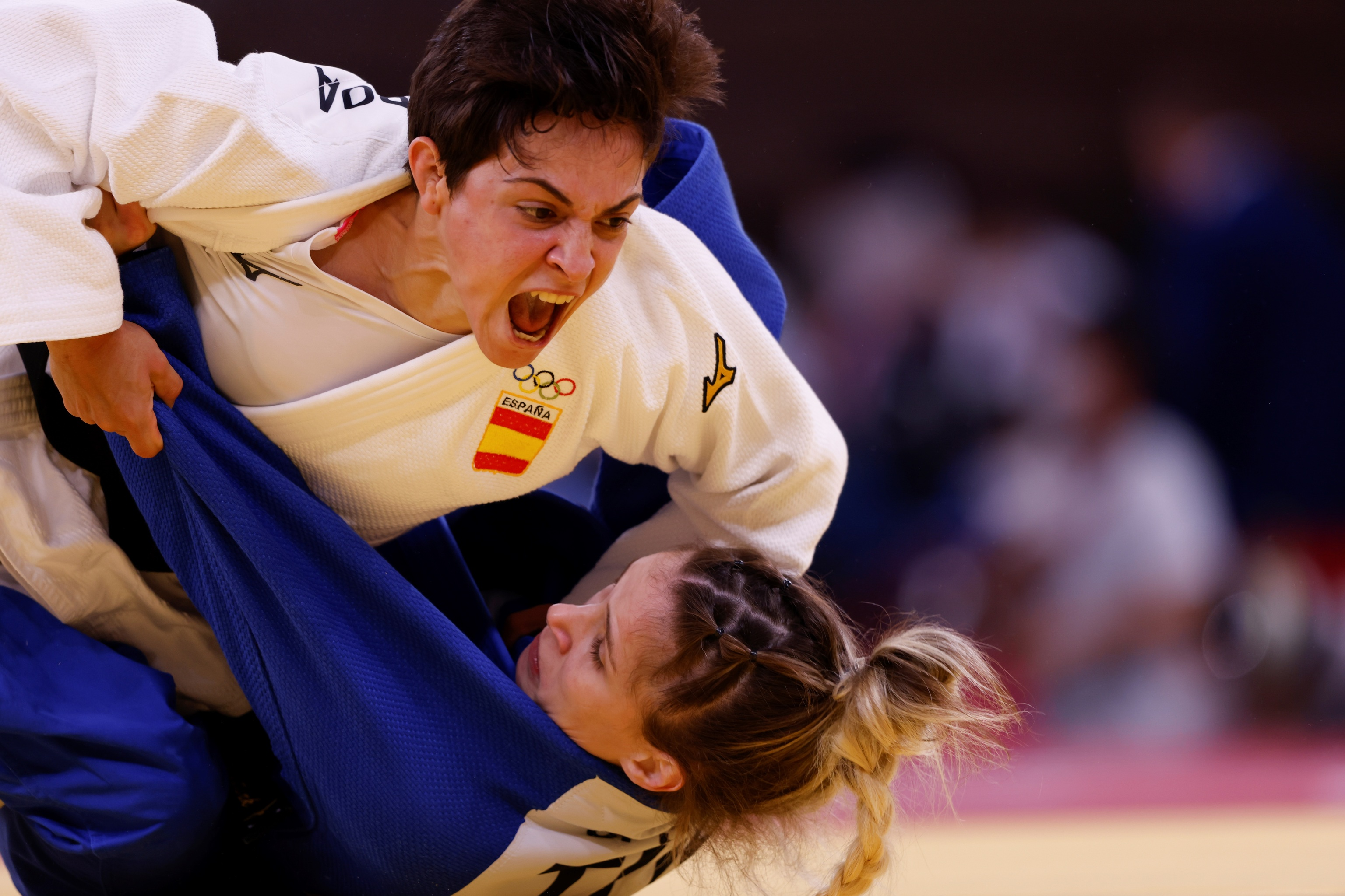 Julia Figueroa, durante su combate en los 48 kg con la turca Senturk.
